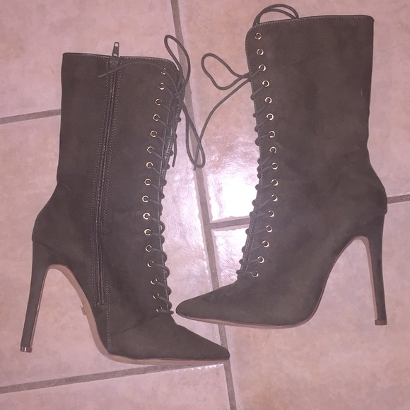 Liliana Suede Olive Stiletto Boots (tongueless)